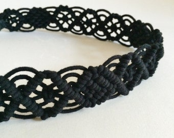 Black Cord Macrame Knotted Headband with Elastic / Gift for Her / Boho / Hippie / Tribal