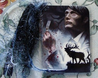 Nakama - Hannibal Lecter & Will Graham - Hannibal Traditional Art Watercolor Painting - Laminated bookmark with ribbons