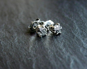 Rough Black Diamond Sterling Silver Stud Earrings Raw Diamond