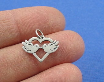 Love Birds Charm - Sterling Kissing Doves Charm for Necklace or Bracelet