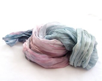 Pink blue scarf, pastel scarf, silk scaf, ombre scarf, fashion scarf, hand dyed scarf, hand painted scarf, crinkle long, Something Blue