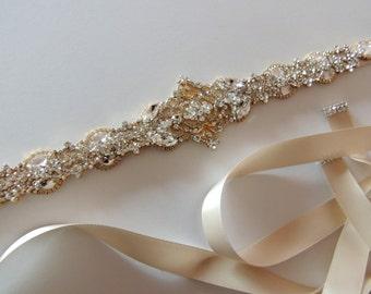 Ready to ship Tanya Bridal Wedding Dress Rhinestone Crystal Embellished Belt Sash Vintage Wedding Art Deco Gold Plated