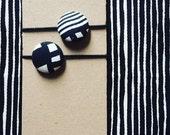 Marimekko Black & White Fabric Hair Elastic Buttons