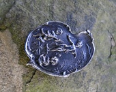 SALE - Vintage Sterling Silver Art Nouveau Cherubs Brooch Pin