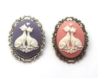 Love Cats Brooch, Pink Cat Brooch, Purple Cat Cameo Brooch, Valentine Brooch, Choose Silver or Bronze, Pink, Black or Purple