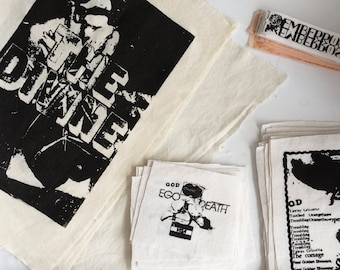 EGO DEATH Art Patch set 3 Patches Black and White Text Art Poetry BDSM Capitalism Contemporary Art Punk Patch