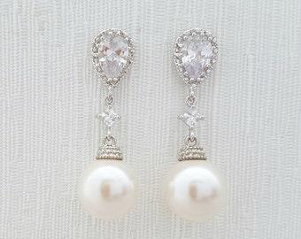 Pearl Wedding Earrings Crystal Pearl Bridal Earrings White Round Swarovski Pearl Earrings, Amelia