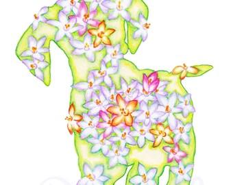 Light Green Springtime Crocus Puppy 8 x 10 inch Floral Art Print - Nursery Art - Wall Art Home Decor