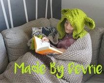 Knit Blanket, Yoda Blanket, Hooded Blanket, KNITTING PATTERN, Knit Hood Blanket, Hooded Yoda Blanket, Star wars blanket