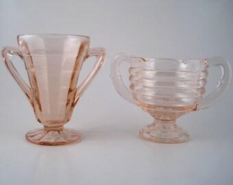 pink glass sugar bowls - pink depression glass - tea party dishes - peach glass - depression glass sugar bowls - mismatched glass