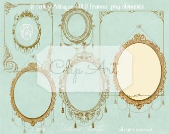 Fancy Gold Frames Instant Download PNG Ornate Antique Frame Clip Art Elements