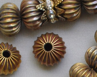 20 Fluted Corrugated Vintage Rondelle Beads Classic Antique Gold Brass 12 mm Diameter X 9 mm