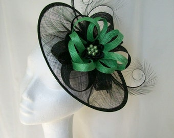 Black Sinamay Saucer Curl Feather and Apple  Green Loop & Pearl Cecily Fascinator Hat -  Made to Order