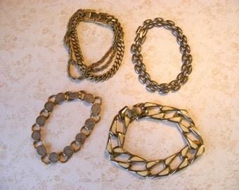 DESTASH Vintage Gold-tone Charm Bracelets, Metal Link Bracelets for Crafts