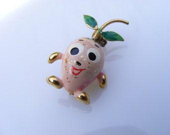 Vintage Painted Peach gold tone Metal mini Pin Brooch