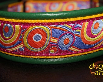 "Dog Collar ""Bubbles"" by dogs-art, martingale collar, leather dog collar, leather slip collar, colorful collar, limited slip collar, collar"