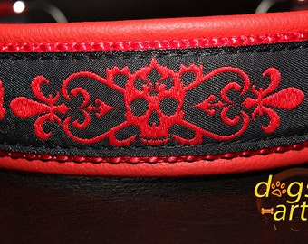 "Dog Collar ""Skulls"" by dogs-art, leather dog collar, martingale collar, chain dog collar, skull dog collar, le fleur dog collar, red collar"