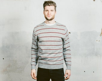 Mens 90s Sweater . Vintage Striped Grey Monochrome Minimalist Normcore Cozy Thin Jumper 1990s Clothing Artist Boyfriend Gift . size Large