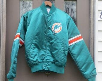 vintage  MIAMI DOLPHINS NFL Pro Line Starter  Satin  Button  Snap Jacket  sz med