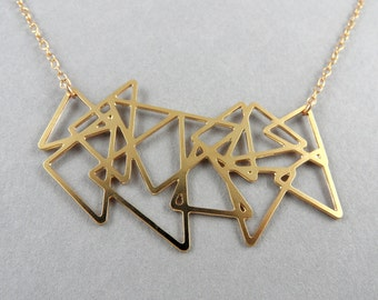 triangle necklace, triangle pendant, triangle jewelry, gold triangles necklace, cluster necklace, unique necklace, gift for her