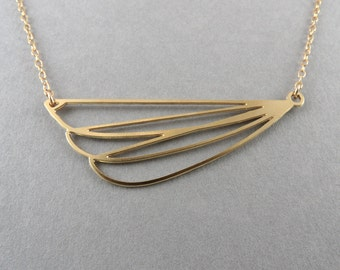 wing necklace, abstract wing jewelry