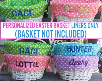 Personalized Easter Basket Liner Only  ( Easter Baskets NOT INCLUDED ) Polkadot Easter Basket Liner Blue Green Purple Pink For Boys Girls