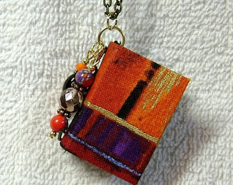 Book Necklace - Book Jewelry - Book Pendant - Book Journal - Handmade Book - Abstract Fabric - BN-27