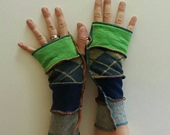 Recycled Sweater Green Blue Fingerless Gloves Armwarmers Mitts