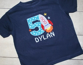 Rocket Ship, outer space Birthday Shirt- FREE PERSONALIZATION-Your Choice of Letters or Numbers