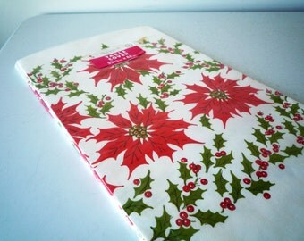 NOS Vintage Holiday Tablecloth POINSETTIA Paper Tablecloth New in package 53 3/4 x 88