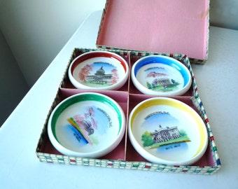 Vintage Ceramic Souvenir Collectible Coasters Washington DC, Cherry Blossom Coasters, Washington DC Souvenir, SALE