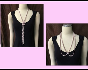 Long Pastel Pink Pearl Necklace, Create different Styles, Fits all Sizes, Vintage 1970s