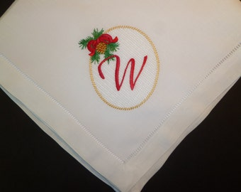 Christmas Dinner Napkin Embroidered Monogram Personalized Linen Dinner Party Napkins Sonia Showalter Design with Monogram Napkins