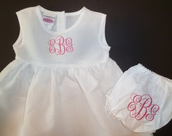 Girls Dress and Bloomers Set Embroidered Linen Dress and Cotton Bloomers Monogram Personalized Girls Toddler Cotton Linen Hemstitched Dress