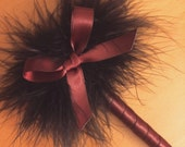 Merlot Feather Pen with Bow - Marabou Feathers - Refillable Ink - Guest Book Pen Weddings & Events