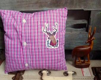 Handmade Appliqued Original Deer Transfer on Pink Check Shirt Fabric, OOAK Small Cushion, Child's Throw Pillow, Statement Cushion