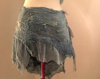natural  hemp wild spirit wrap skirt, Elven Faerie clothing, festival burning man raw silk.
