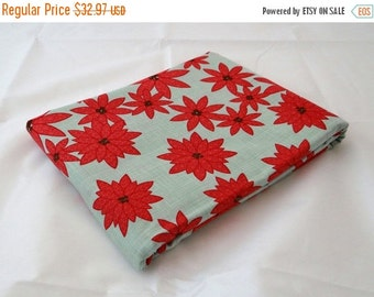 25 Off Sale Poinsettia WINTER'S LANE 3 yds mint aqua Moda quilt sewing fabric Kate & Birdie Christmas red winter double border 3 full yards