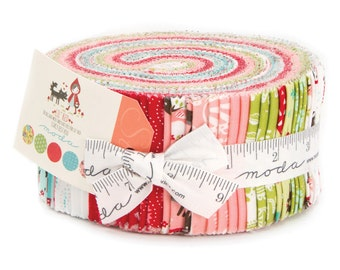 LIL RED Jelly Roll Moda precuts Folktale Fairytale sewing maker quilt 2.5 inch fabric strips Stacy Iest Hsu aqua red pink wolf