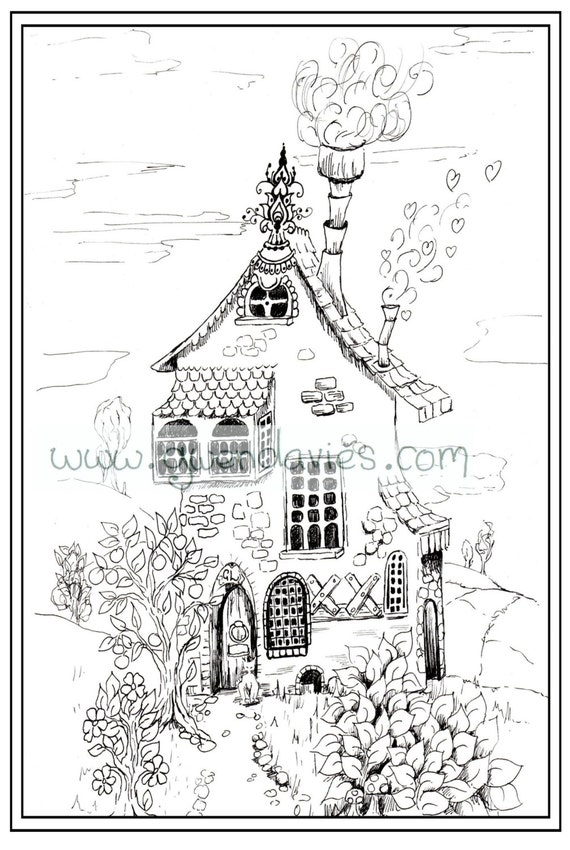 Adult Colouring In PDF Download Pixie House Fairy Calming Mindfulness Henna Zen Mandalas Flower Anti Stress Flowers