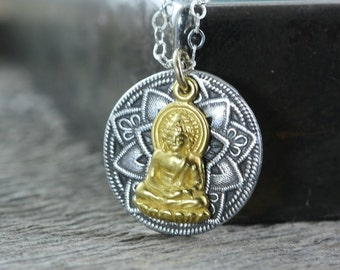 Buddha Mandala Necklace, North Star Jewelry, Sterling Silver Loving Kindness LovingKindness Necklace Metta Meditation Zen
