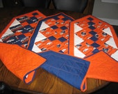 Quilted Pieced Table or Chest Runner or Wall Hanging Blue Orange NFL Denver Broncos Horses Head Football Helmet 4 Patch  REVERSIBLE