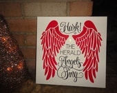 Christmas Sign/Hark The Herald Angels Sing/Christmas Decor/Wood Sign/Home Decor/Country/Rustic/Primitive/Painted Sign/DAWNSPAINTING/12 x 12