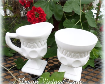 Milk Glass Creamer, Sugar and Tray Vintage Great for Weddings