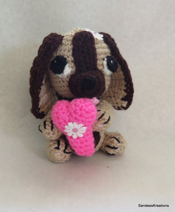 Amigurumi Big Heart : Amigurumi Puppy Dog with Heart Crochet Stuffed Dog Pet