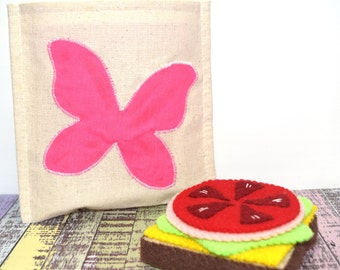 Reusable Sandwich Bag | Eco Friendly | Waste Free Lunch Bag | Natural Unbleached Cotton | Butterfly Applique