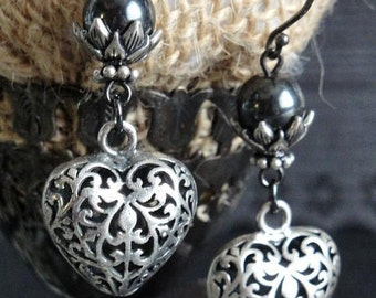 HEART Earrings. Sterling Silver. Filigree Puffy Hearts. Genuine Hematite Beads. Outstanding Detail. Beautiful Dangles. Romance Collection