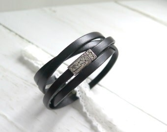 Genuine Leather Wrap Bracelet - Black - Leather Cuff - Minimalist Bracelet for Women