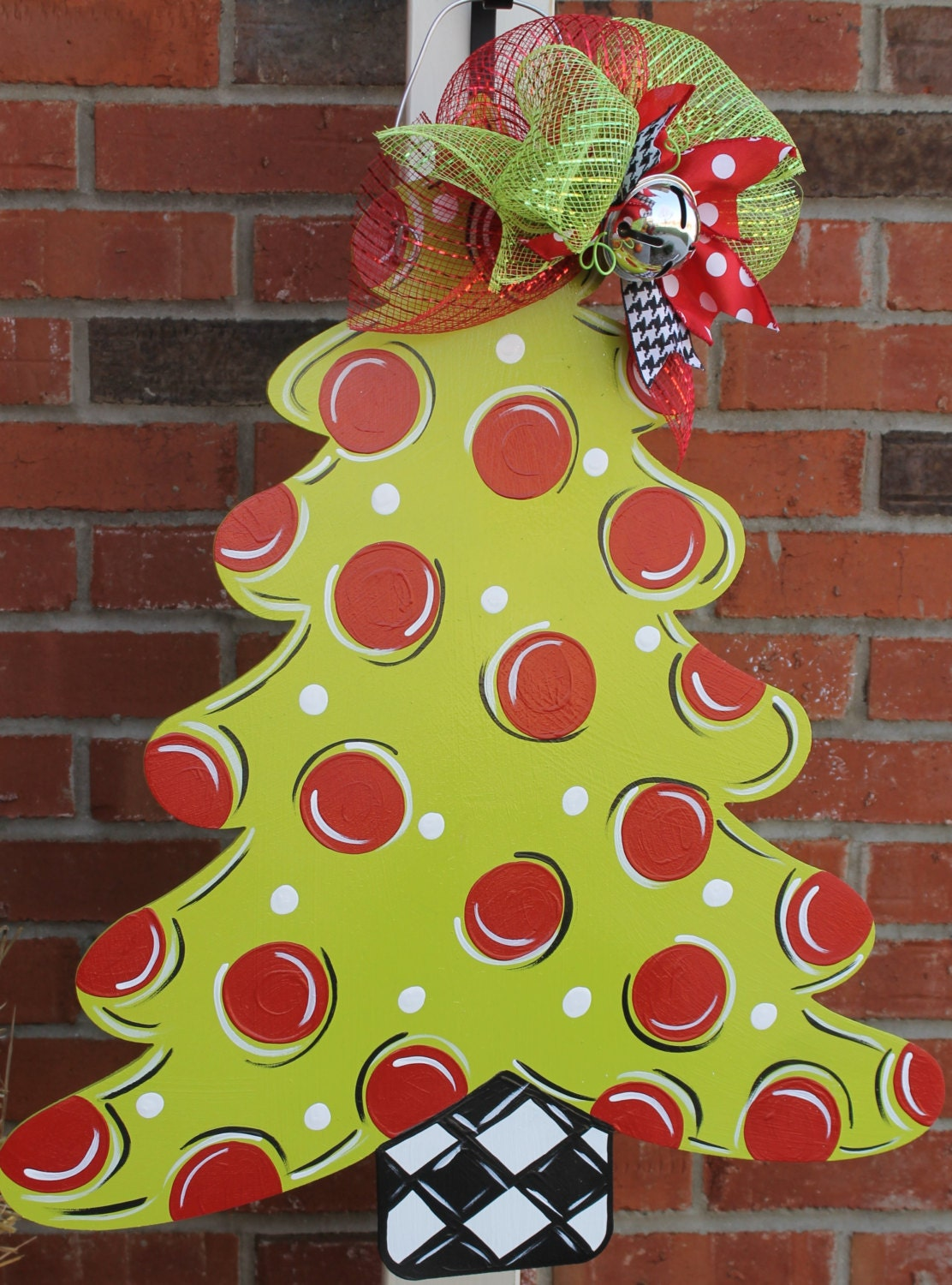Large wood christmas tree door hanger by abossard on etsy