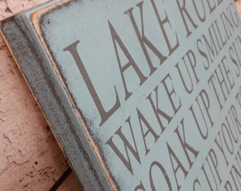 Lake Rules Sign Custom to your Lake, Cabin, Cottage, Resort, Lodge Rules Sign Rustic Primitive Typography  subway sign